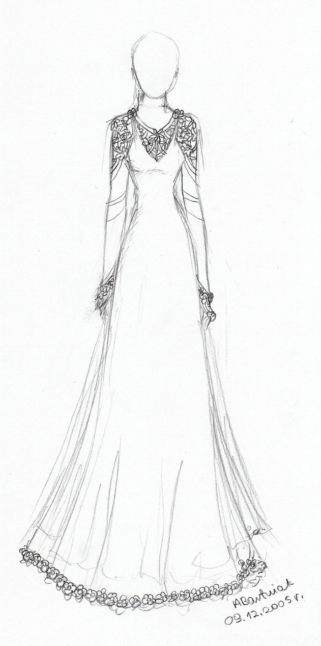 631x1267 Wedding Dress Drawing Custom Wedding Dress Drawing On Hanger