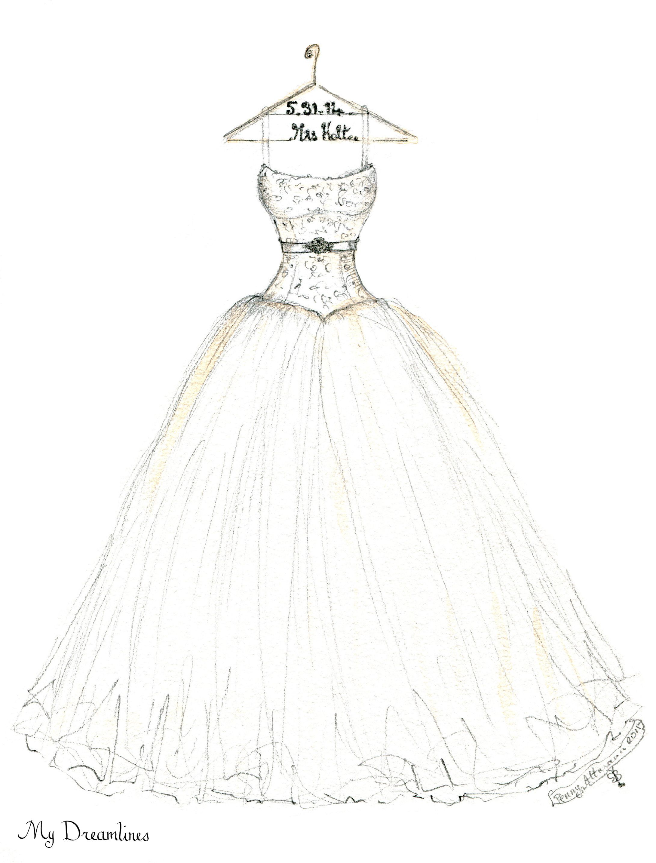 2182x2870 Wedding Dress Sketch For An Valentine's Day Gift Anniversary Gift