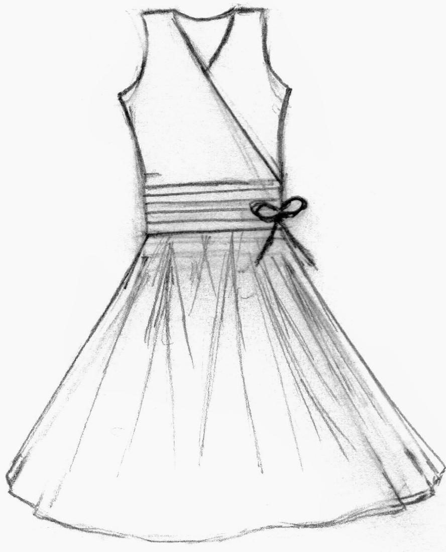 888x1099 Dress Sketch Easy Drawn Wedding Dress Short Dress