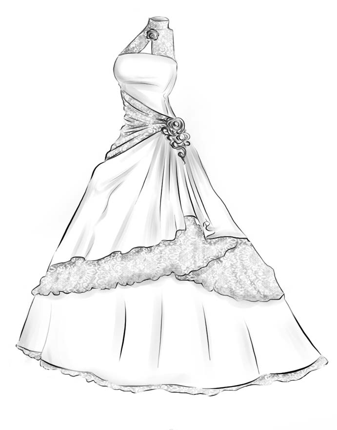 691x881 Wedding Dresses Drawing Image Drawn Wedding Dress Pretty Dress