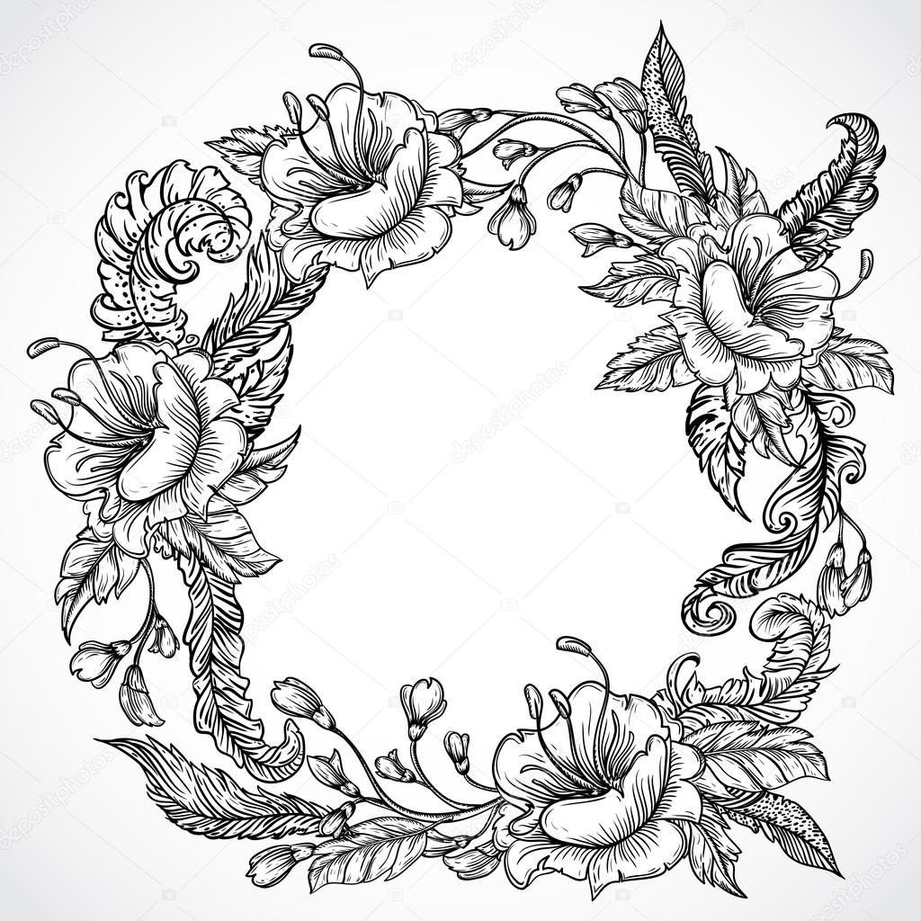 1024x1024 Vintage Floral Highly Detailed Hand Drawn Wreath Of Flowers
