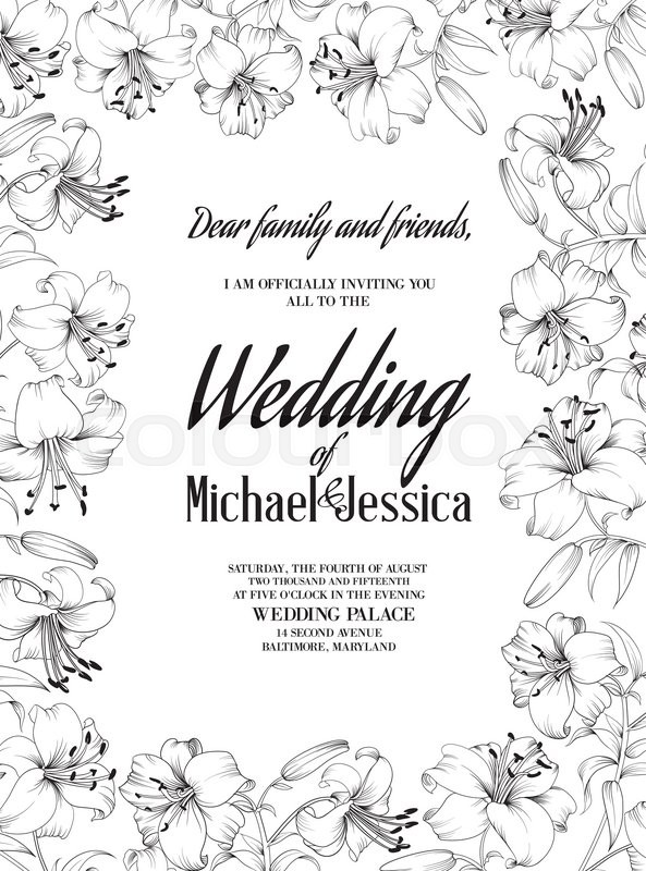 593x800 Wedding Card Lily Flowers. Invitation Card Template