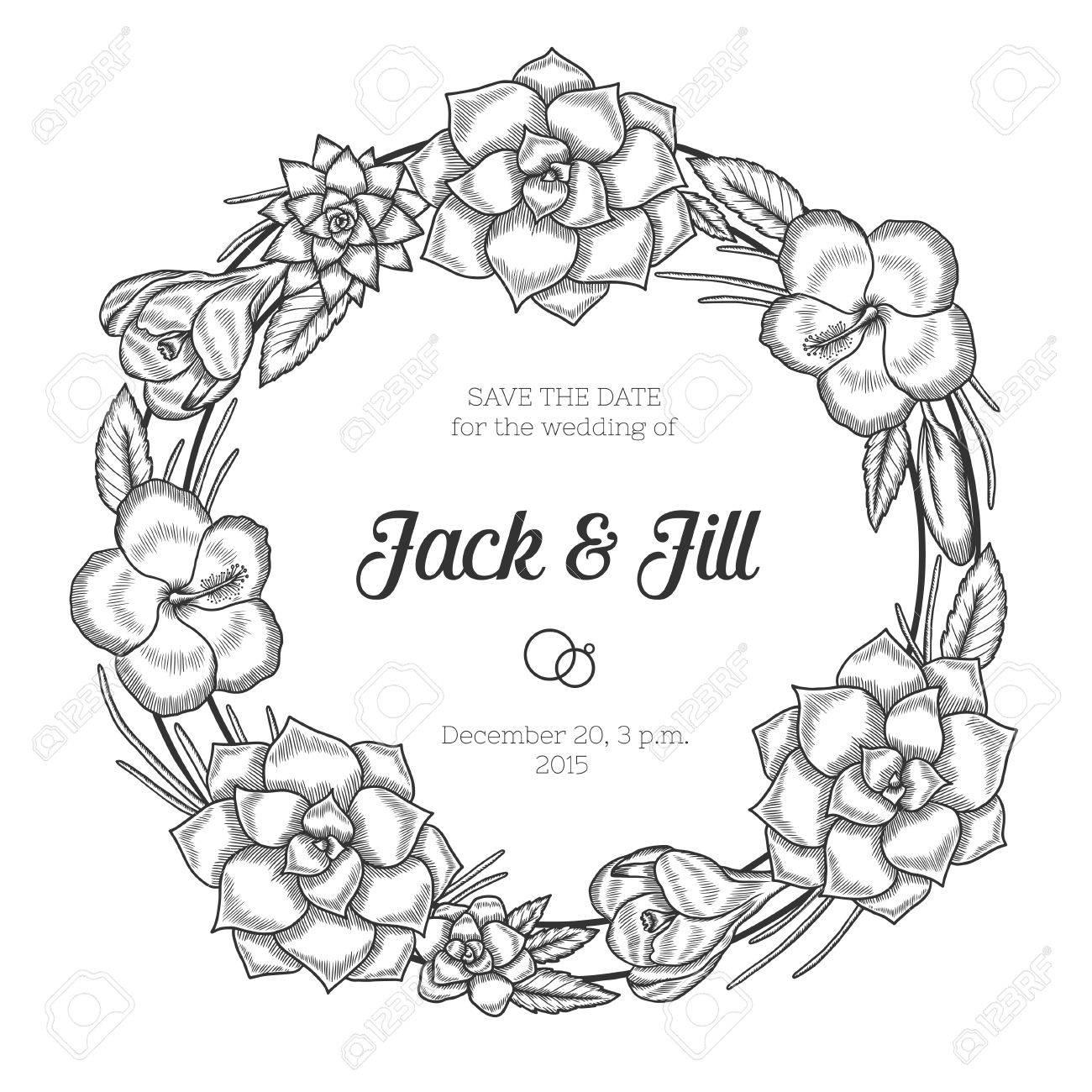 1300x1300 Hand Drawn Floral Wedding Invitation. Vintage Round Wreath. Vector