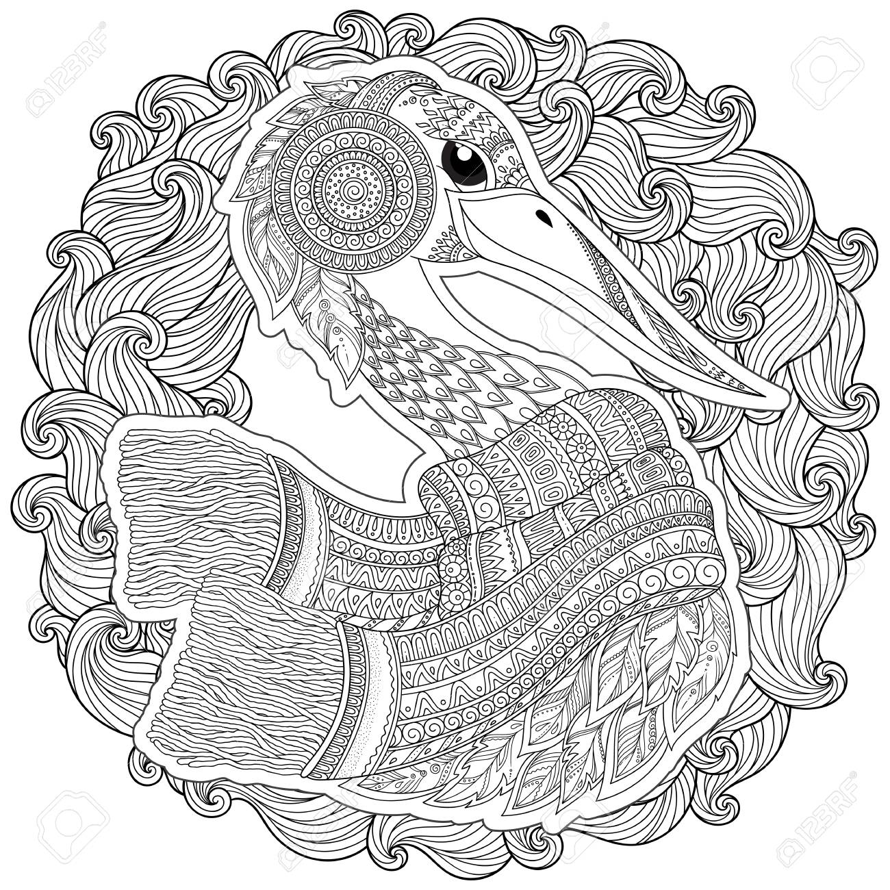 1300x1300 Hand Drawn Stork For Adult Anti Stress Coloring Pages, Post Card