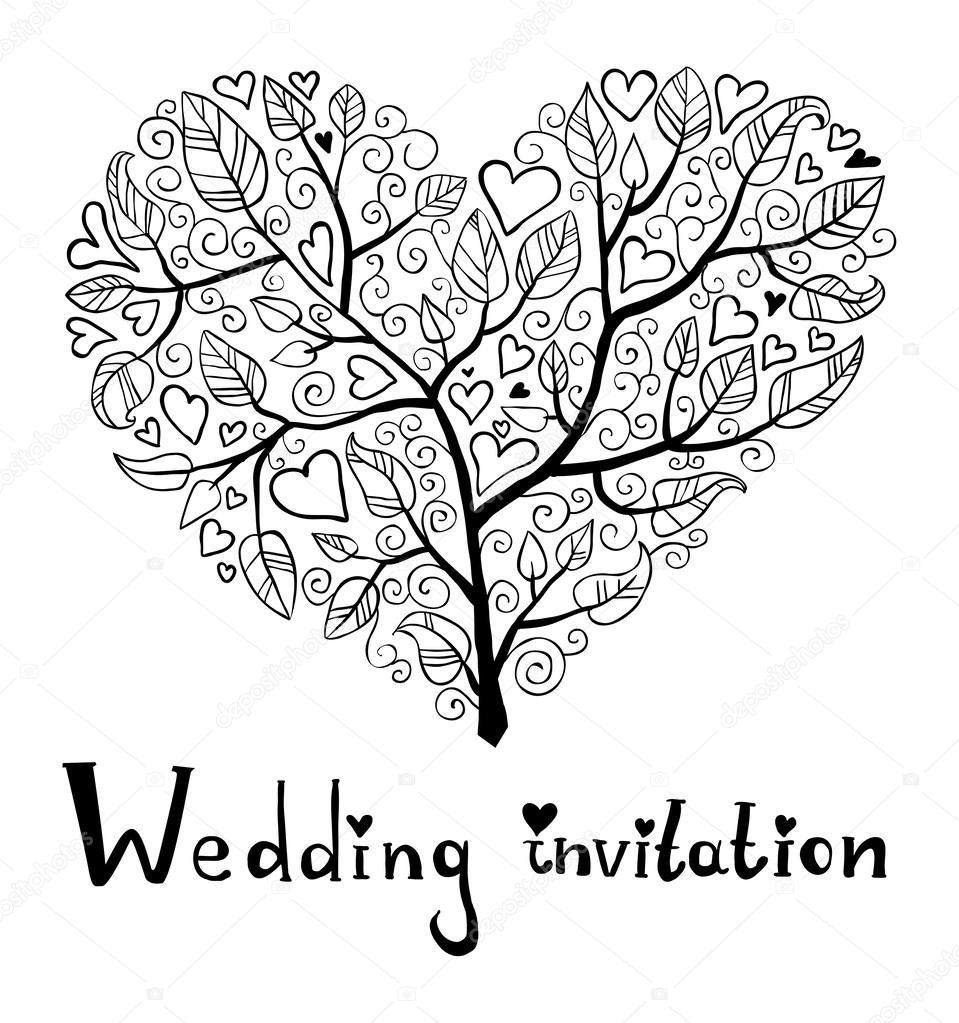 959x1023 Hand Drawn Wedding Invitation Stock Vector Orfeev