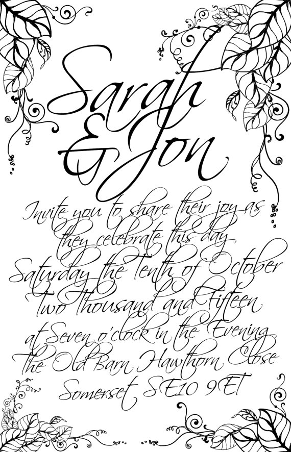 570x886 Printable Wedding Invitation