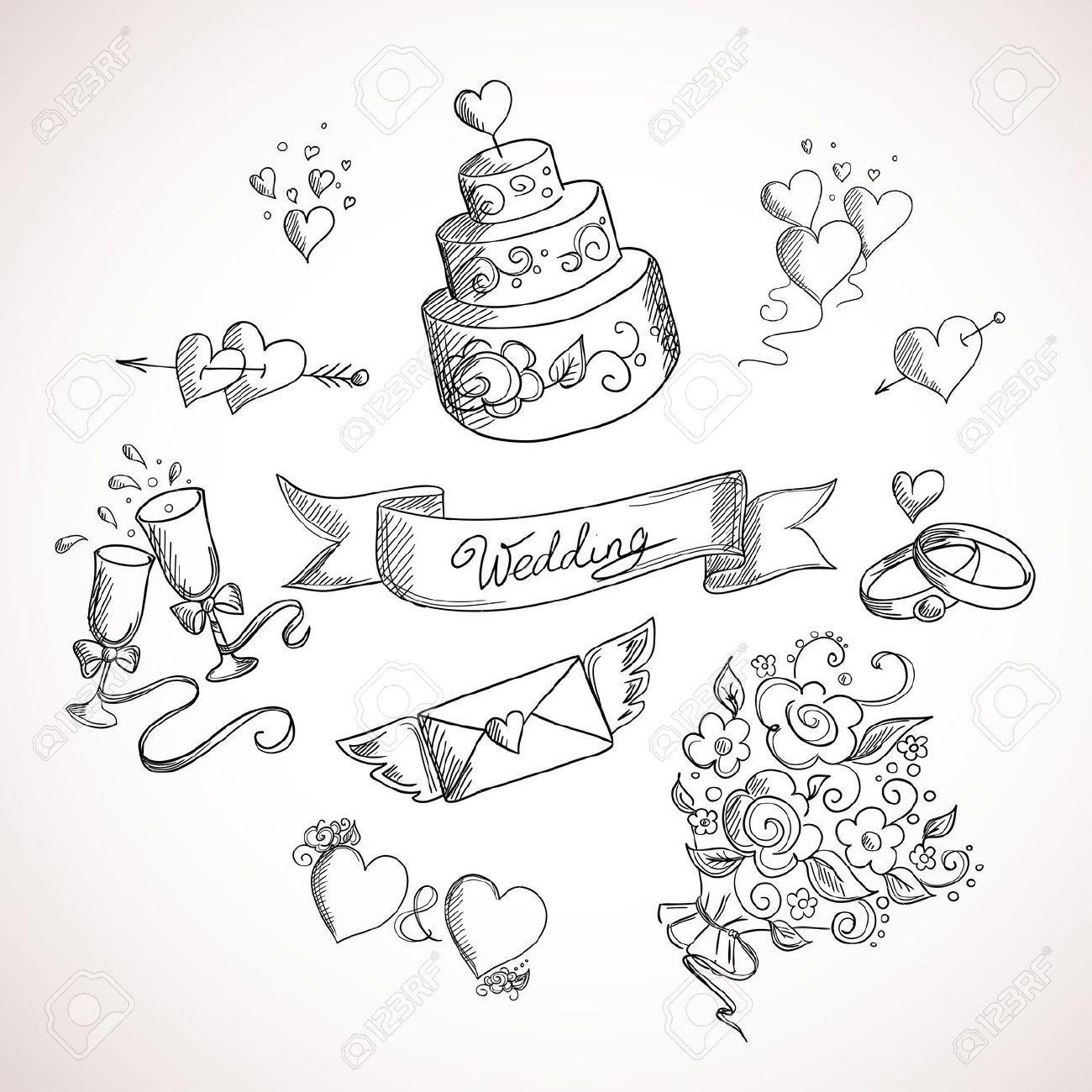 1300x1300 Sketch Of Wedding Design Elements. Hand Drawn Illustration Royalty