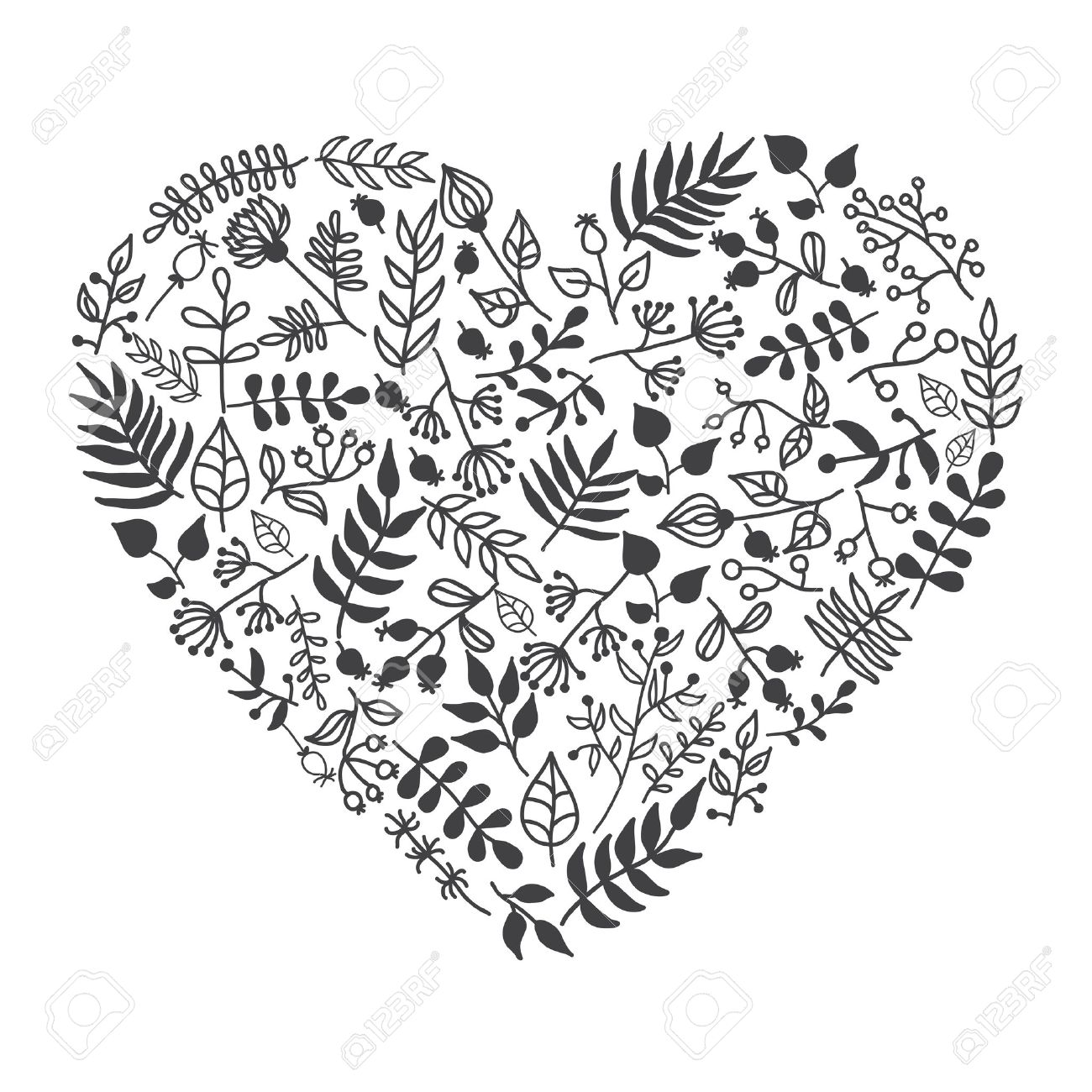 1300x1300 Vector Rustic Floral Heart Shape Illustration. Hand Draw. Great