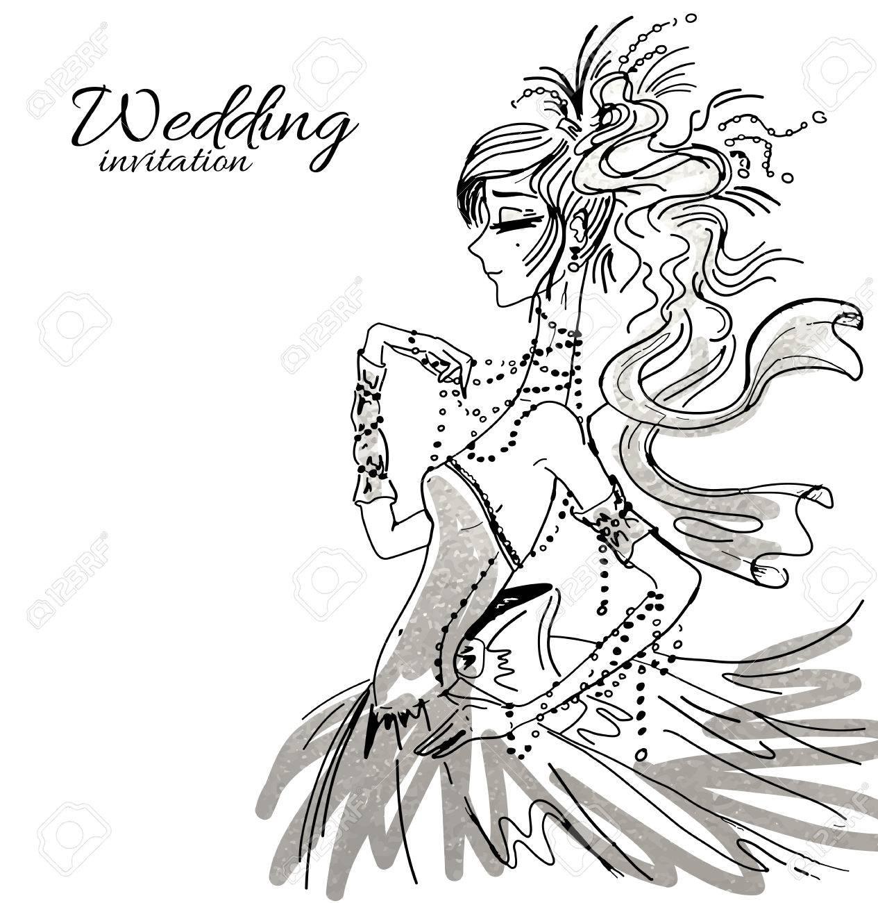 1265x1300 Vector Wedding Invitation Background Template, Hand Drawn