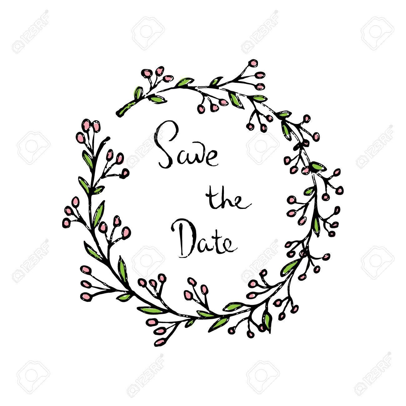 1300x1300 Vector Wedding Invitation Card. Hand Drawn Floral Wreath