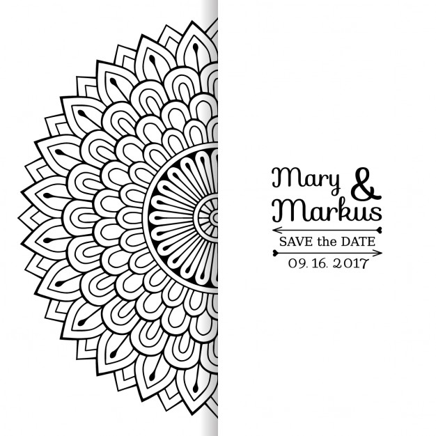 626x626 Wedding Invitation With A Cute Black And White Floral Mandala