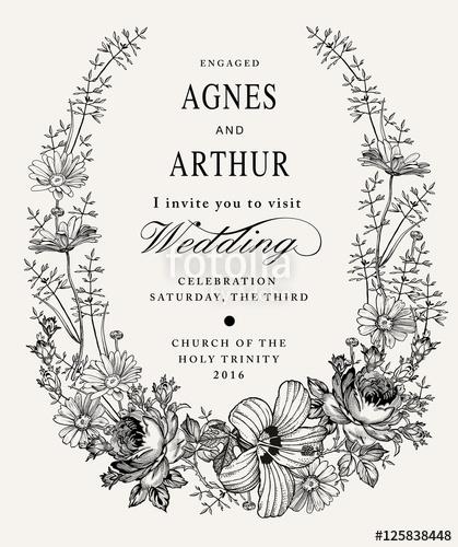 419x500 Wedding Invitation. Beautiful Blooming Flowers. Vintage Greeting