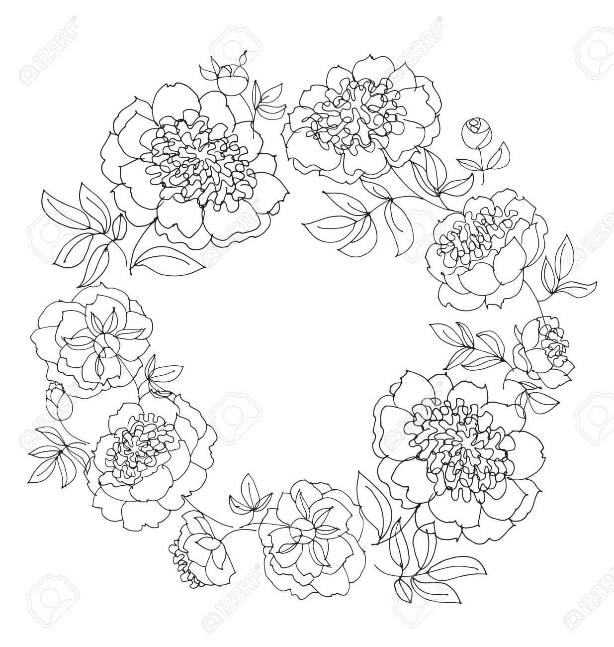 1235x1300 Peony Flower Wreath Vector Illustration. Line Sketch Hand Drawn