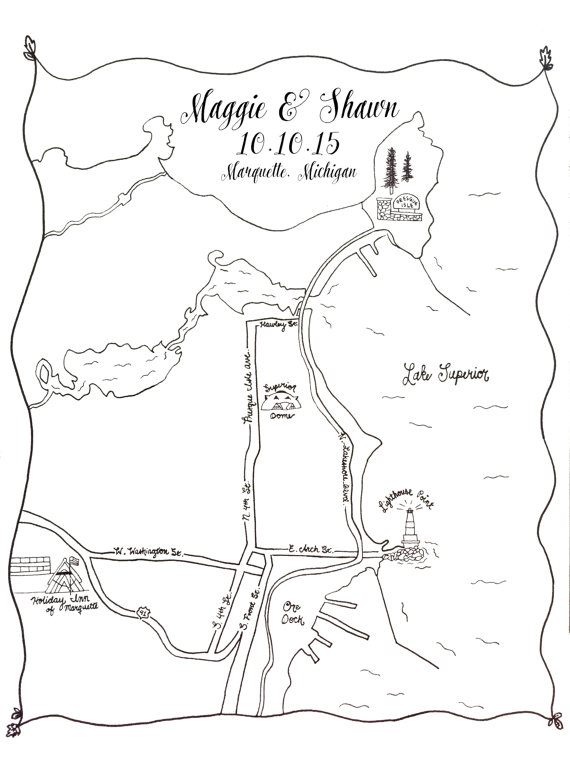 570x760 Custom Wedding Map Printable Diy, Map Of Wedding Ceremony