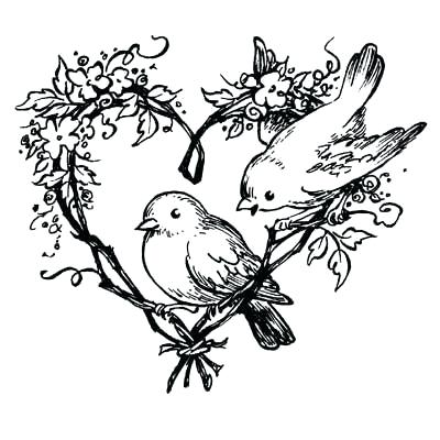 400x400 Love Birds Coloring Pages Wedding Line Drawing