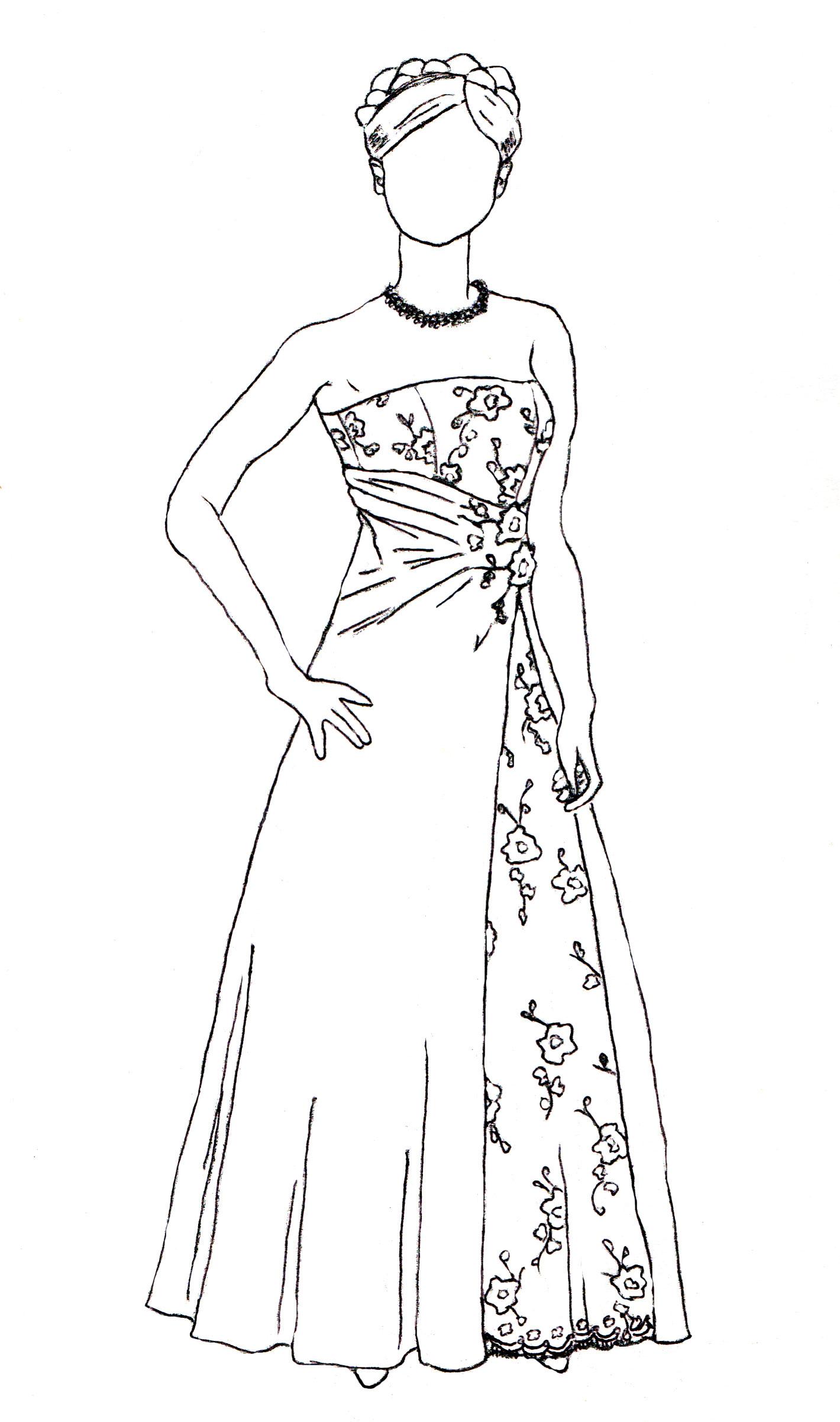 1420x2403 Wedding Dress Sketch Drawing Wedding Dress