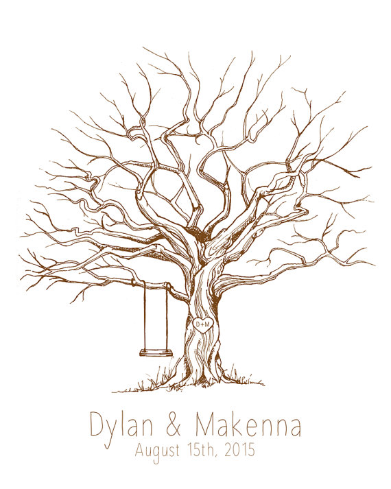 570x713 Custom Guest Book Tree Choose Your Tree Color Print Sizes