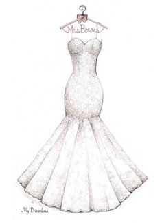 236x324 Bridal Shower Gift, Wedding Dress Sketch, Bride Gift From Maid