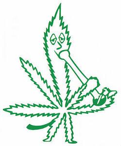 249x300 Marijuana Leaf Smoking A Water Bong Vinyl Decal Car Window Sticker