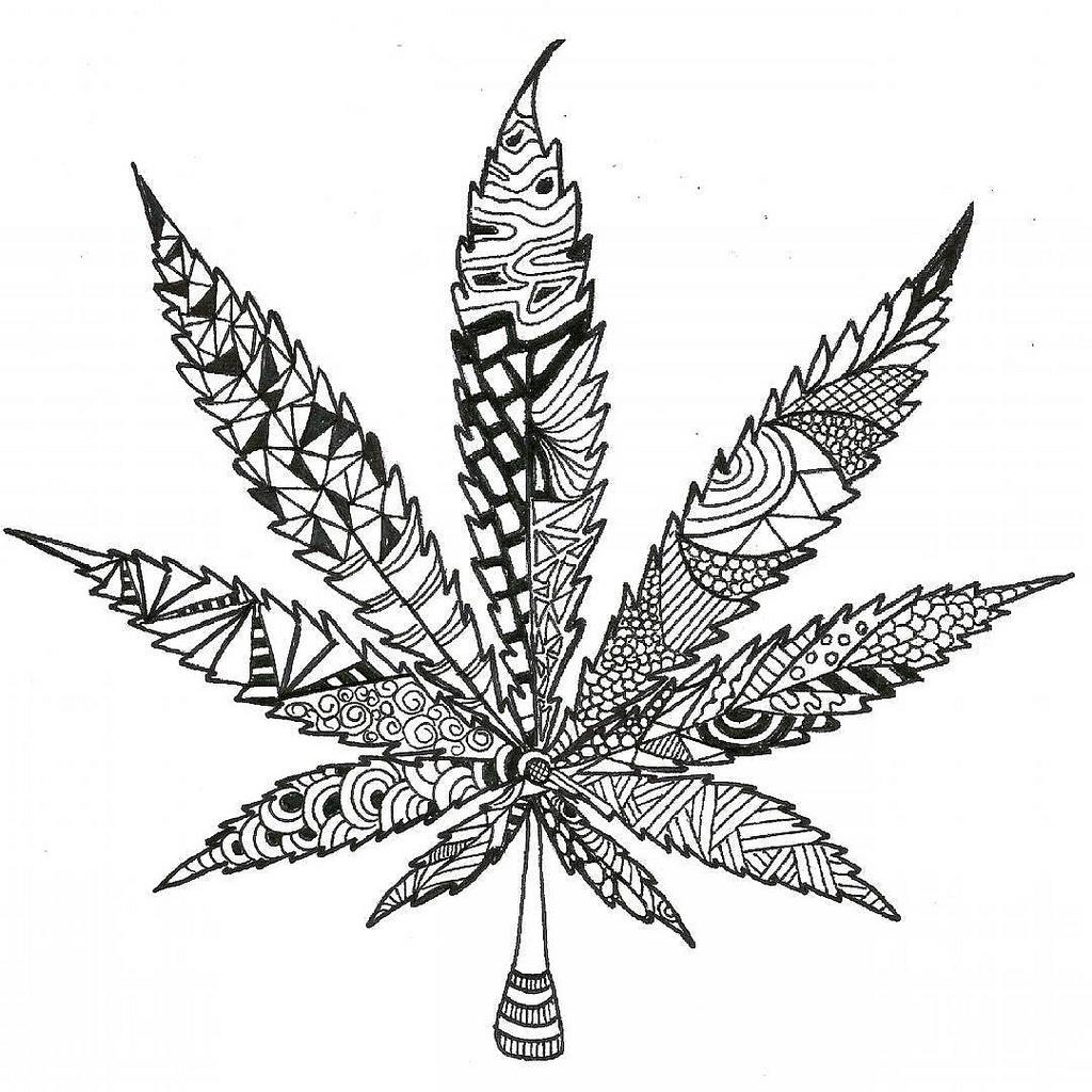 1024x1024 Marijuana Doodle Leaf