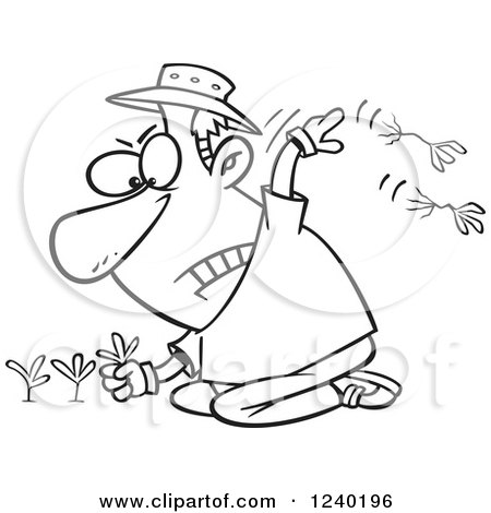 450x470 Clipart Of A Black And White Mad Man Pulling Weeds