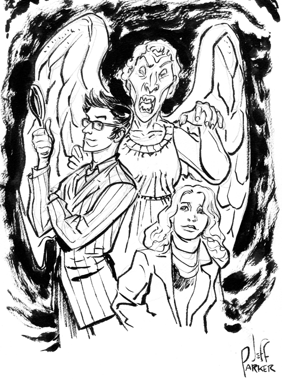 932x1250 Tenth Doctor With Sally Sparrow And Weeping Angel (Doctor Who) By