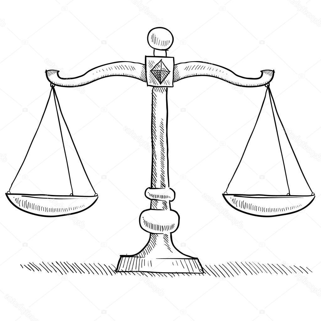 1024x1024 Best Free Stock Illustration Scales Of Justice Sketch Pictures