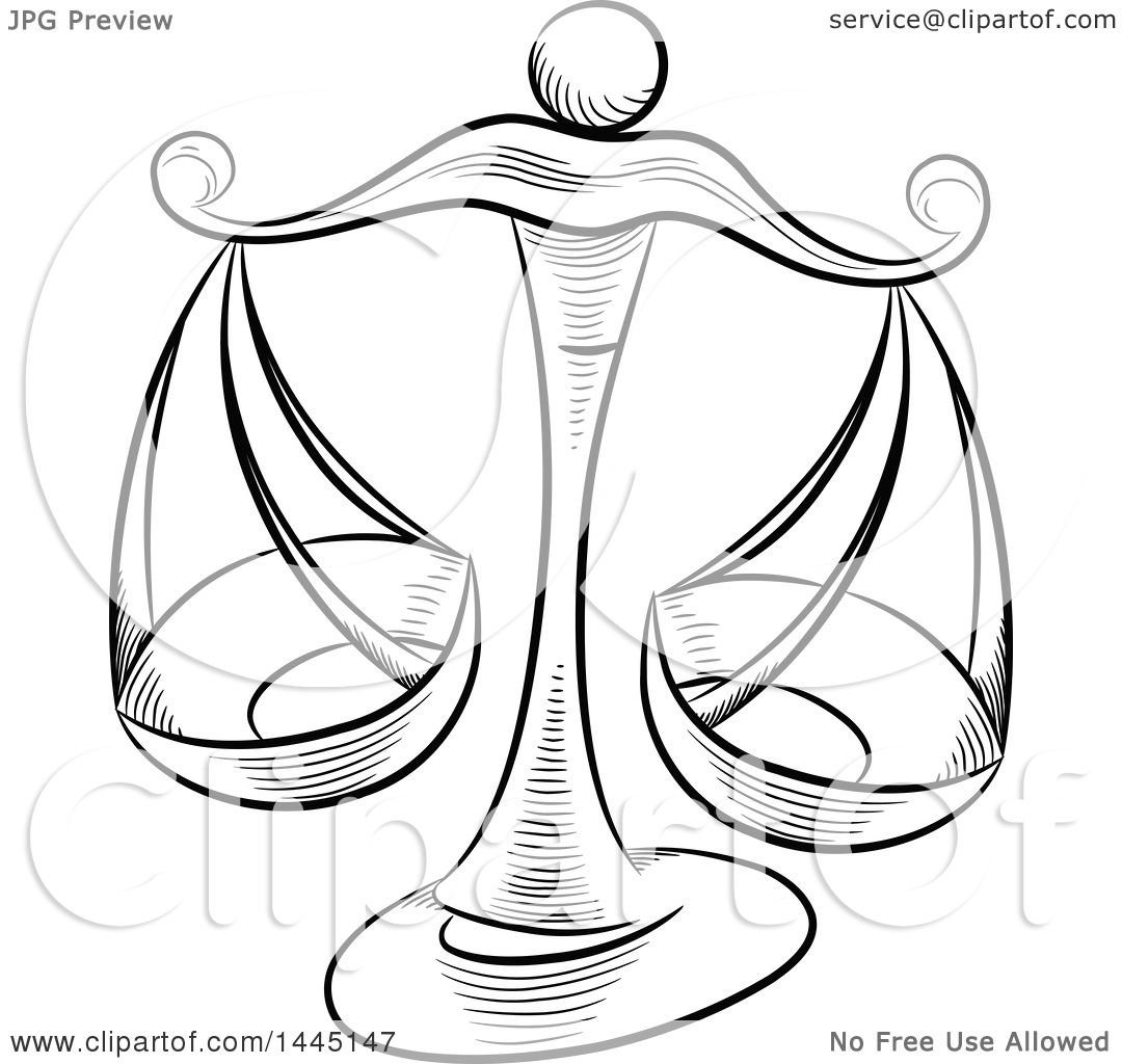 1080x1024 Clipart Of Sketched Black And White Astrology Zodiac Libra Scales