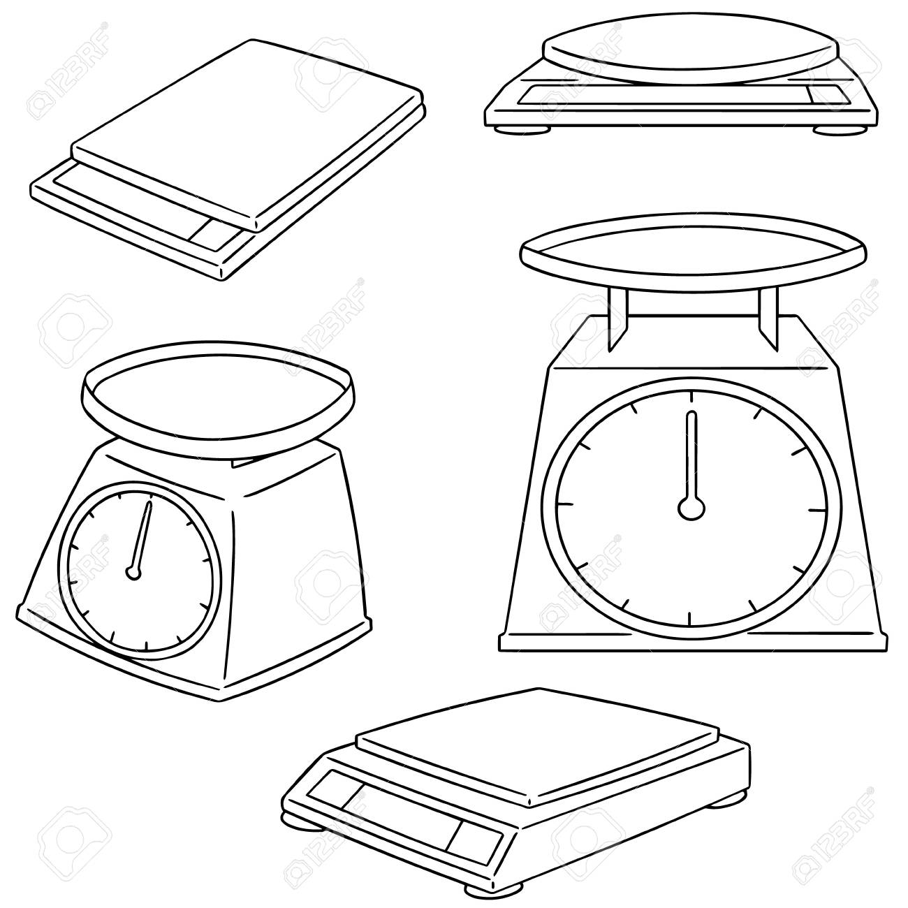 1300x1300 Vector Set Of Weighing Machine Royalty Free Cliparts, Vectors,