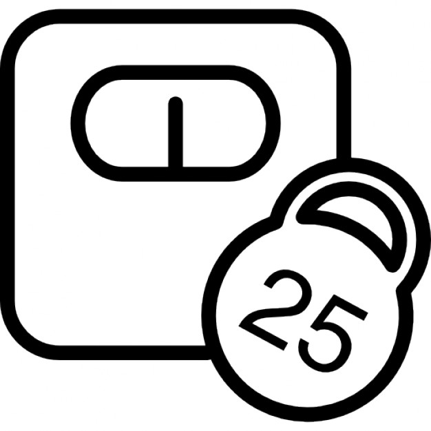 626x626 Weighing Scale Outline With 25 Kilos Weight Icons Free Download