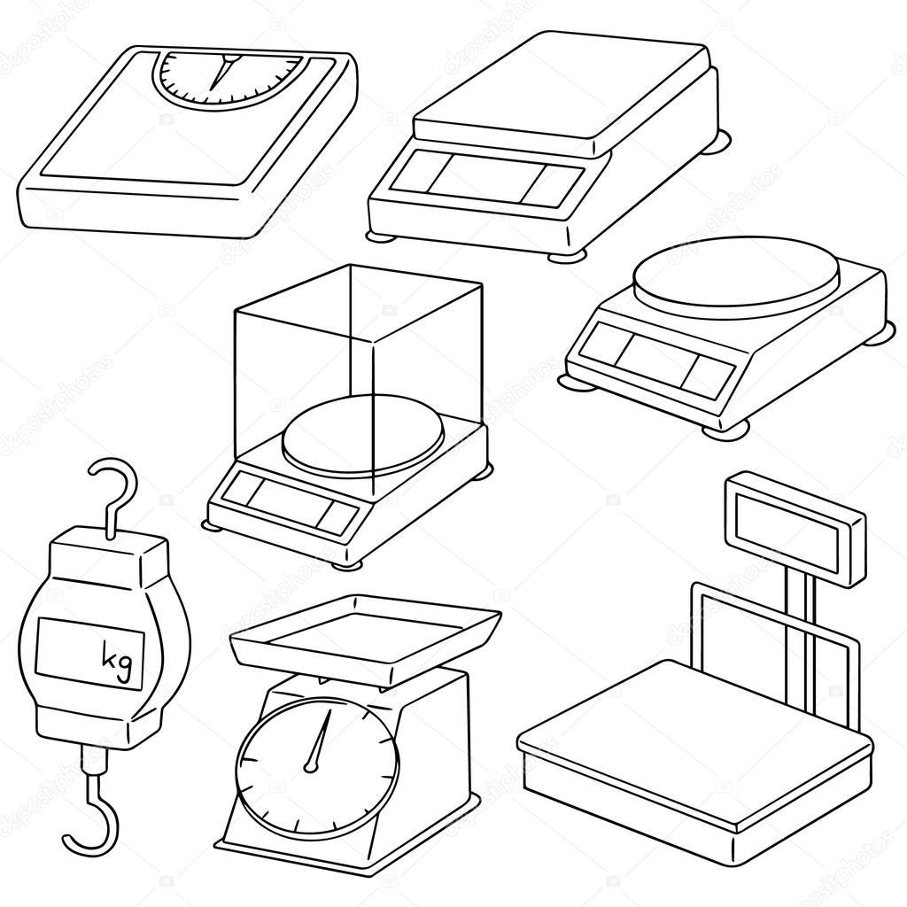 1024x1024 Vector Set Of Weighing Machine Stock Vector
