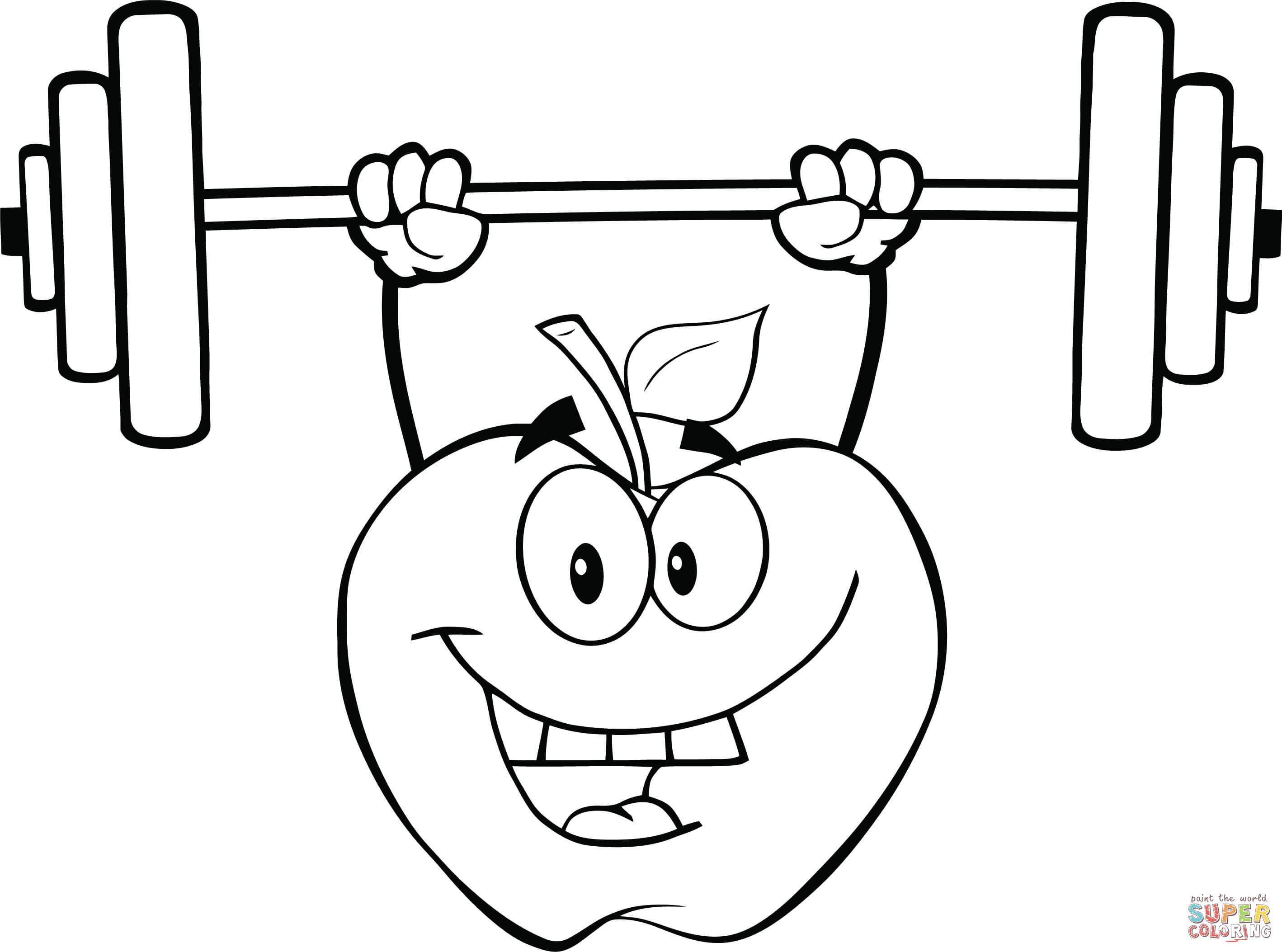 2836x2106 Apple Cartoon Character Lifting Weights Coloring Page Free