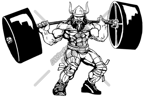 500x337 Viking Weight Lifting Mascot Clipart And Vectorart Sports Mascots