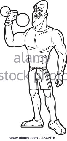 226x470 Sketch Man Lifting Weight Gym Sport Stock Vector Art