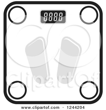 450x470 Clipart Of A Black And White Digital Body Weight Scale