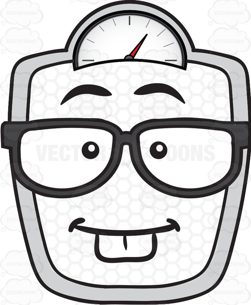 843x1024 Nerd Looking Weighing Scale Wearing Eye Glasses Emoji Cartoon