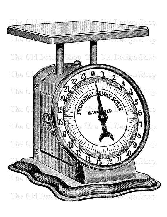 570x738 Antique Kitchen Weigh Scale Clip Art Printable Digital