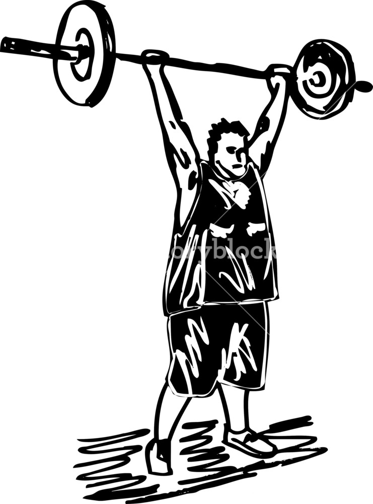 741x1000 Sketch Of Overweight Man With Barbells. Vector Illustration