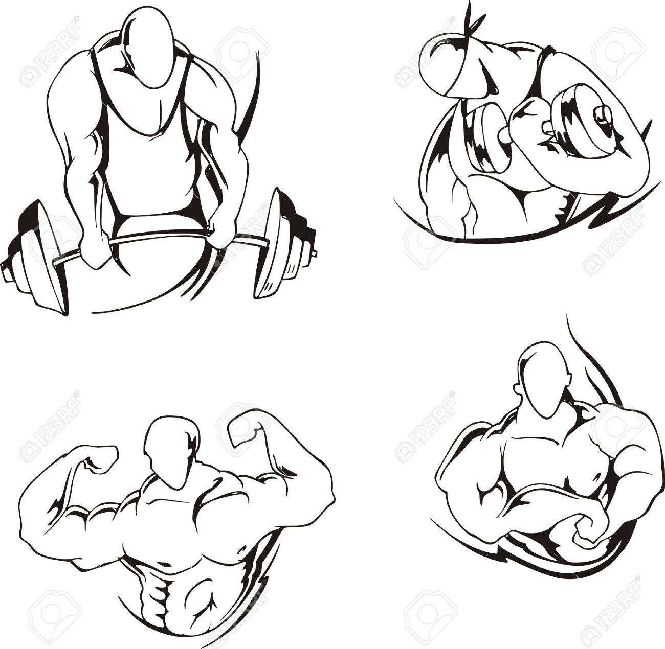 1300x1270 Weight Lifting And Bodybuilding Set Of Black And White