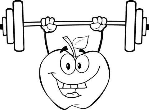480x356 Apple Cartoon Character Lifting Weights Coloring Page Free
