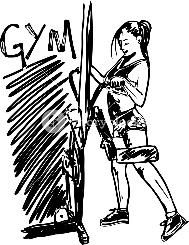 770x1000 Sketch Of A Woman Working Out At The Gym With Dumbbell Weights