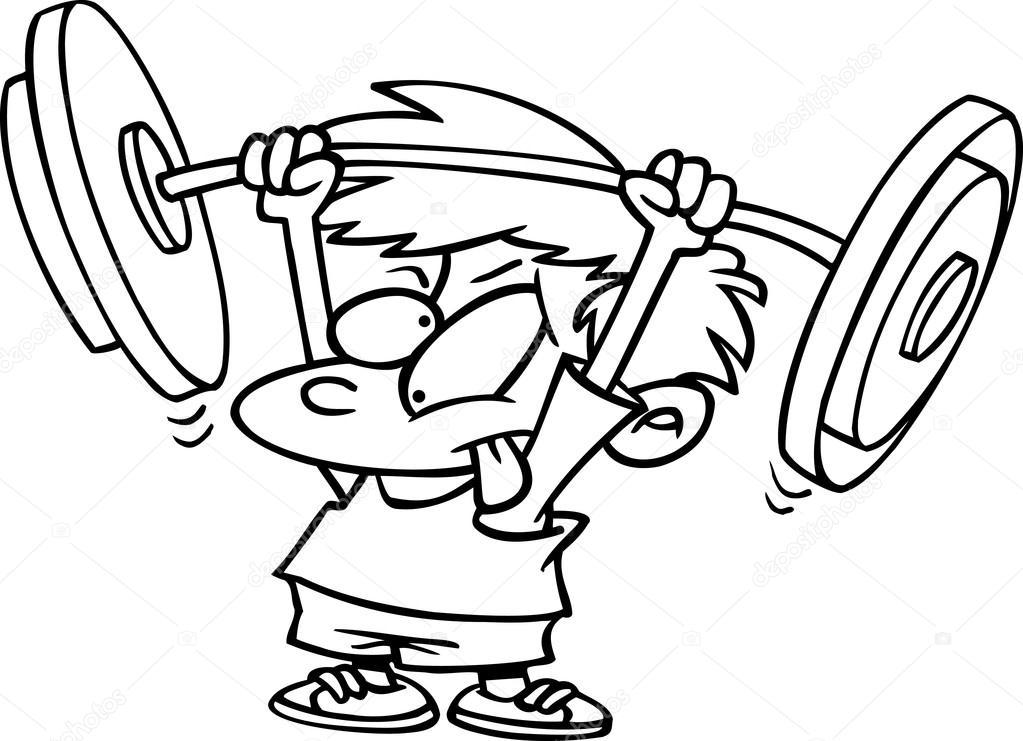 1023x741 Cartoon Boy Lifting Weights Stock Vector Ronleishman