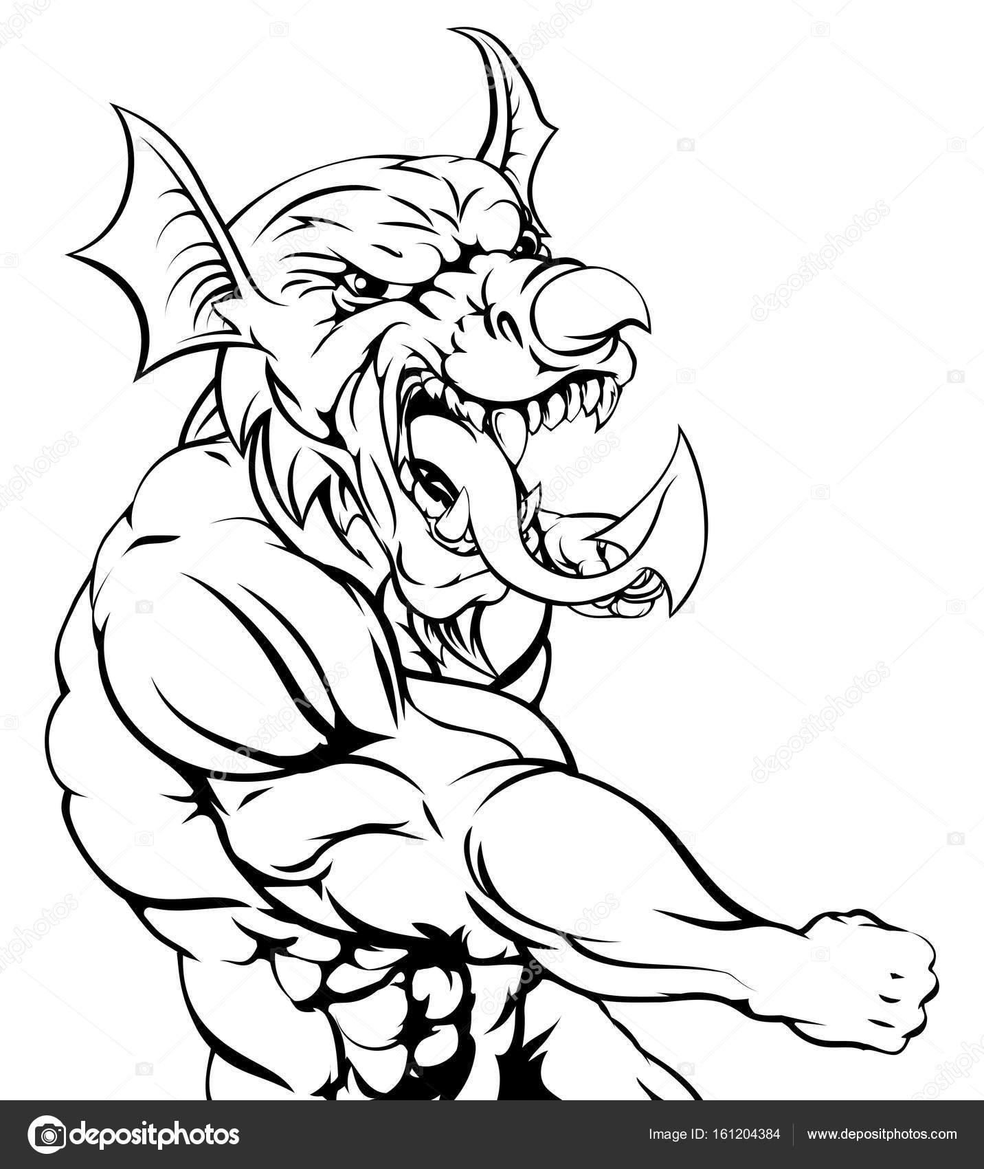 1432x1700 Welsh Dragon Punching Stock Vector Krisdog