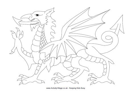 460x324 Welsh Dragon Colouring Page Great Britain Welsh