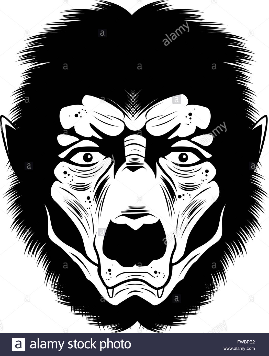 Werewolf Face Drawing