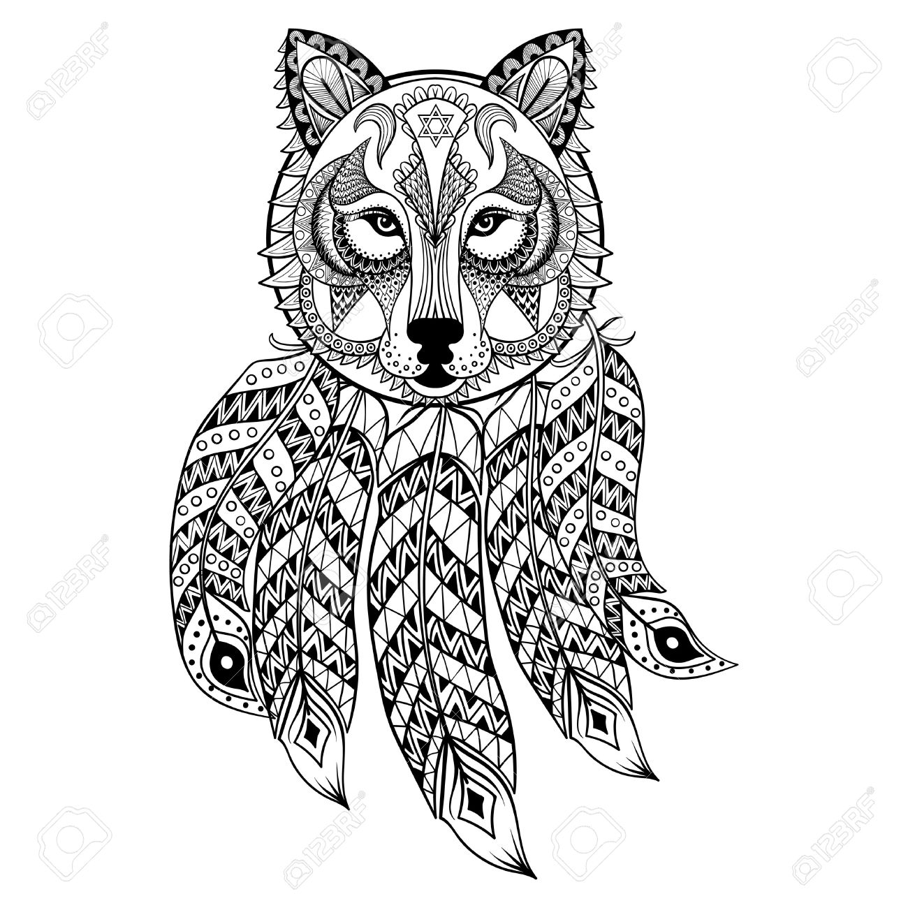 1300x1300 Vector Ornamental Wolf With Dreamcatcher, Ethnic Zentangled Mascot