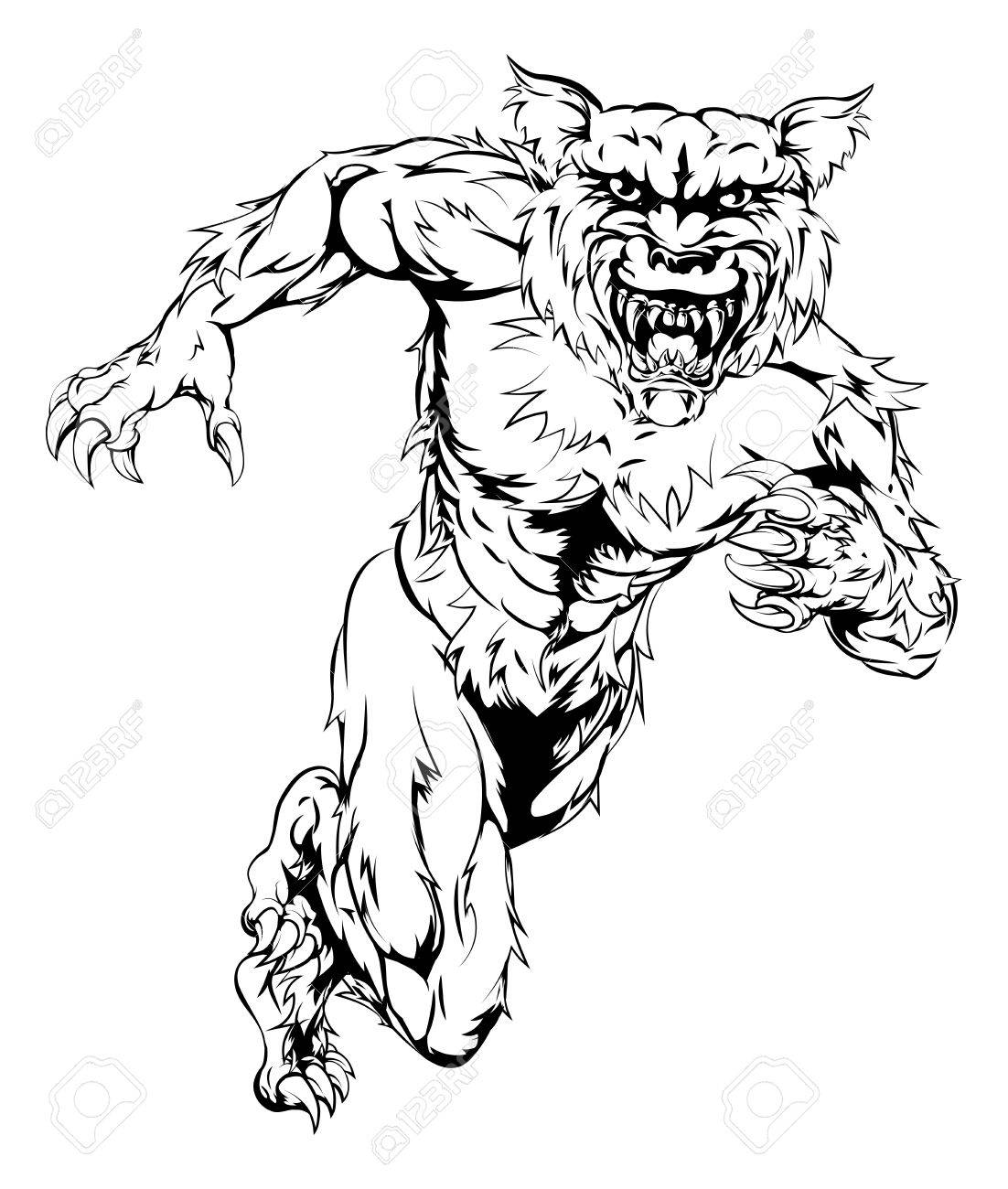 1102x1300 A Werewolf Wolf Man Character Or Sports Mascot Charging, Sprinting