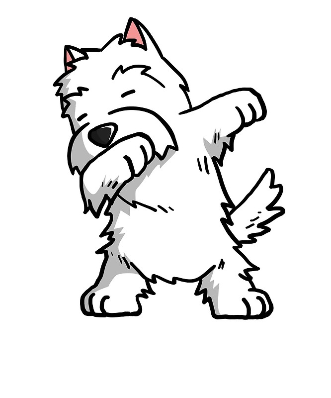 666x800 Funny Dabbing West Highland White Terrier Dog Art Prints By