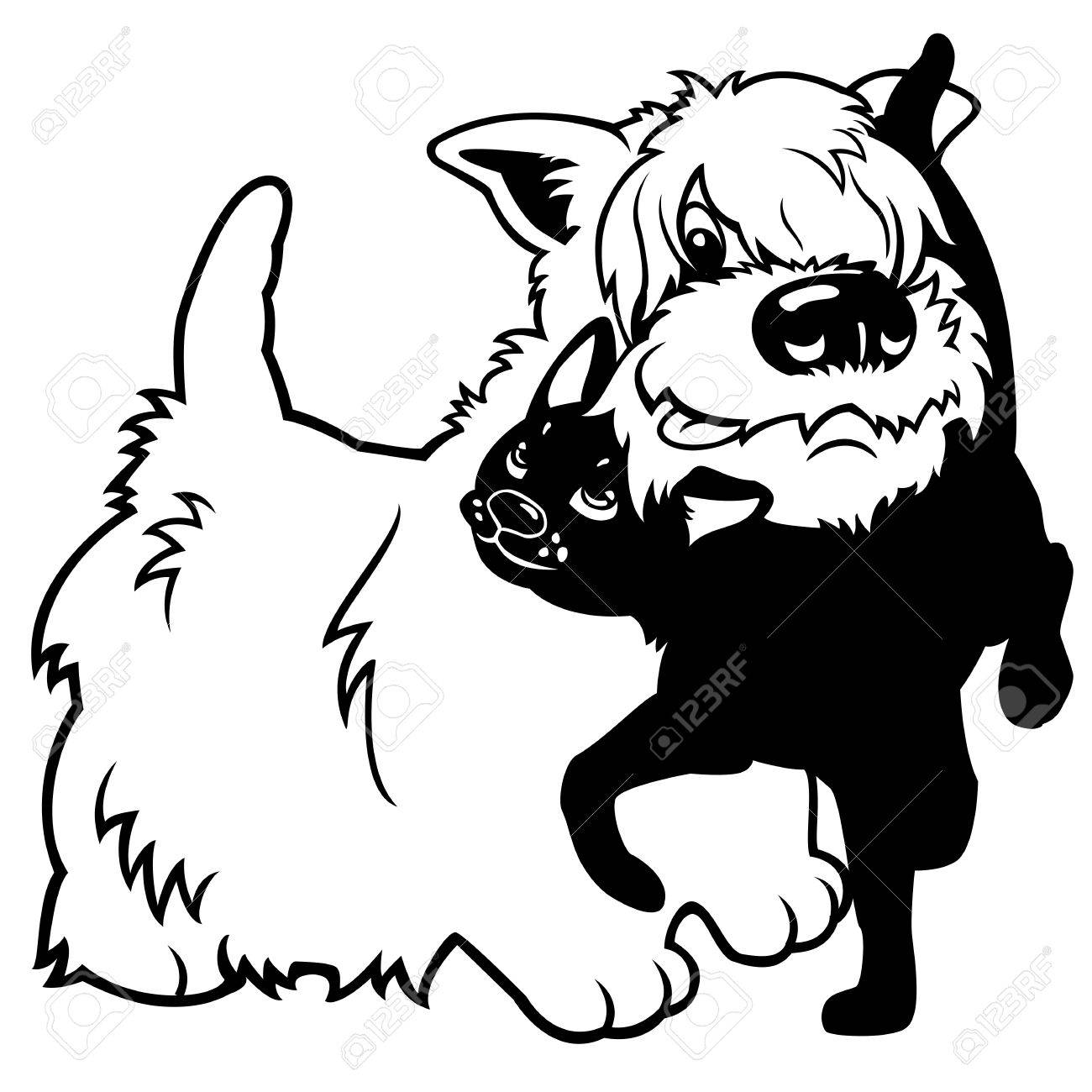 1300x1300 West Highland White Terrier Dog And Black Cat,isolated Cartoon