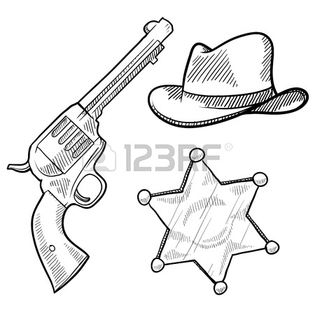 450x450 Doodle Style Wild West Cowboy And Sheriff Objects Illustration